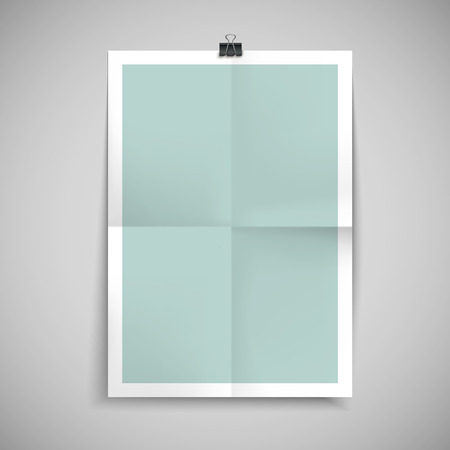 folded paper: paper blank brochure template hanging over wall