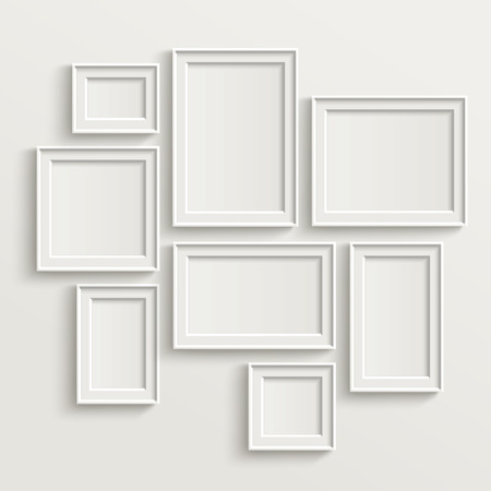 3d image: blank picture frame template set isolated on wall