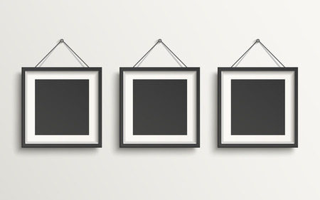 blank picture frame template set hanging on wall  イラスト・ベクター素材