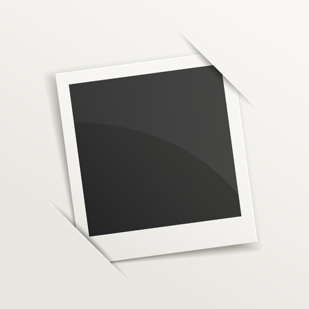 blank retro photo frame over white Illustration