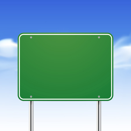 blank road sign: blank green traffic road sign over blue sky