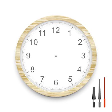 blank wooden clock face isolated on white Ilustracja