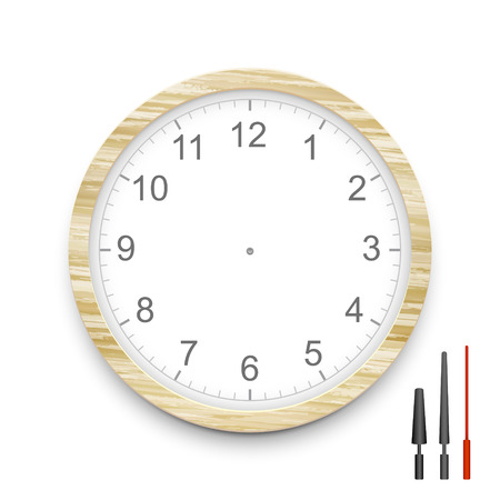 blank wooden clock face isolated on white Illustration