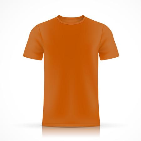 白い背景に分離されたオレンジ色の t シャツ テンプレート  イラスト・ベクター素材