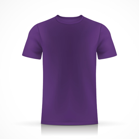 short sleeve: purple T-shirt template isolated on white background