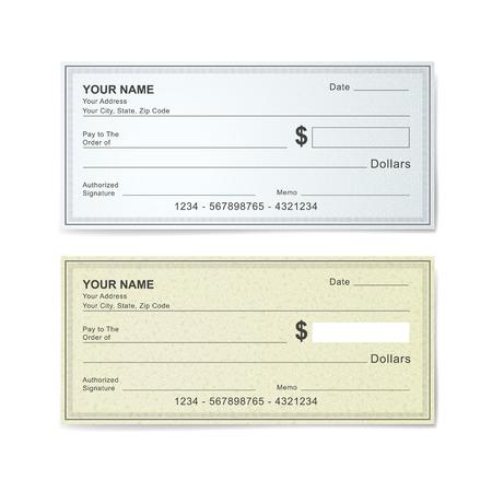 chequera: blanco plantilla cheque bancario aislado en blanco Vectores
