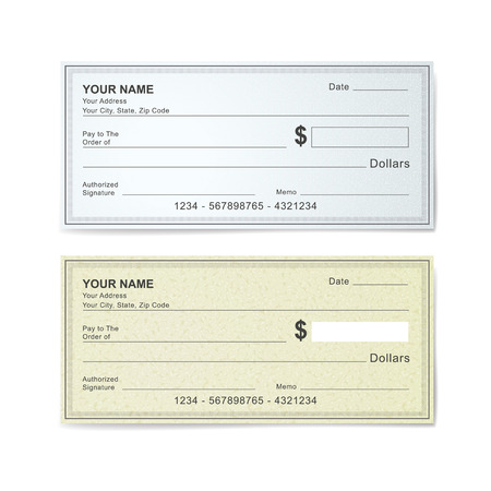 blank check: blank bank check template isolated on white