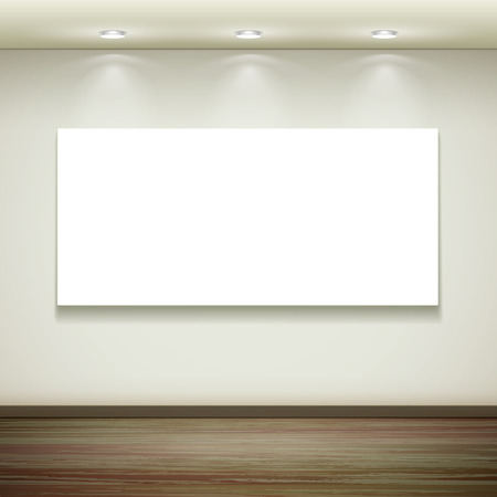 exposition: interior blank billboard hanging on the wall with light