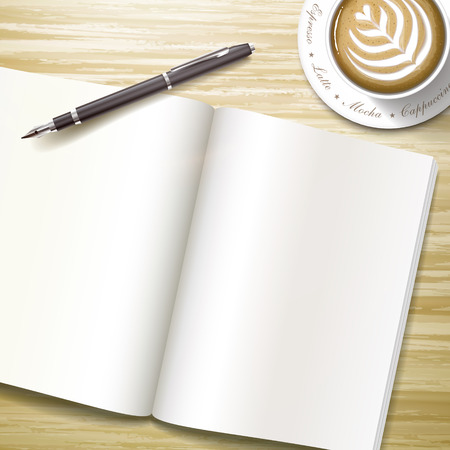 blank open book over wooden desk with a pen and coffee