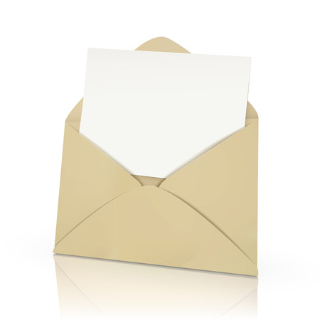 it is isolated: open envelope with blank card in it isolated on white  Illustration