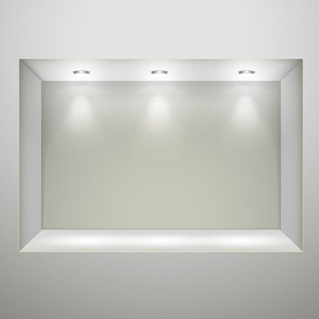 white wall with empty niche for exhibition  Vector