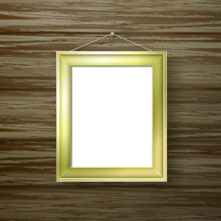 talk show: blank golden photo frame hanging on the wooden wall