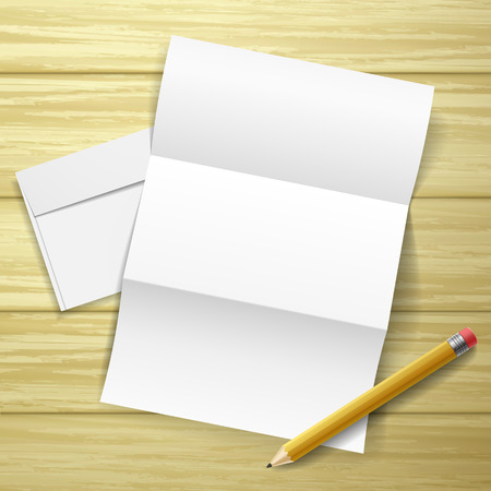 post scripts: blank letter and pencil isolated over wooden table
