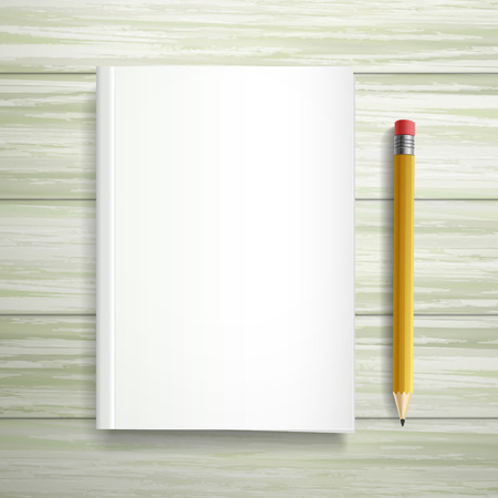 blank book template and pen isolated on wooden table Vector