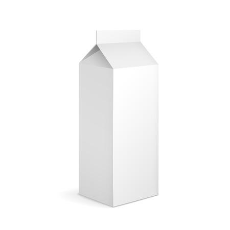 envase de leche: en blanco paquete de cartón de leche aislado en blanco Vectores