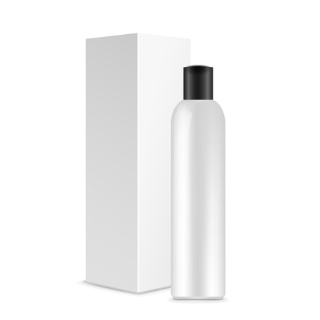 cosmetic bottle: blank cosmetics package over white background