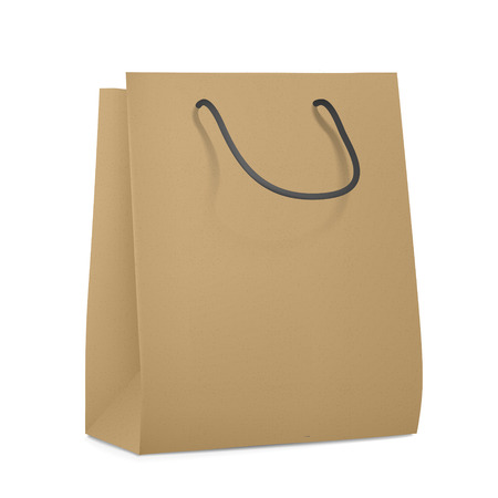 chipboard: blank paper bag isolated on white background