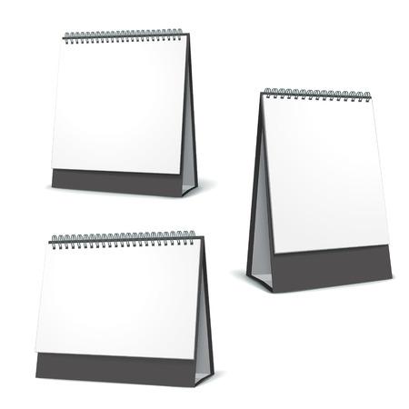 Stehen leeren Kalender-Set isoliert auf weißem Hintergrund