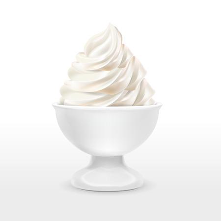 food container: envase de alimento blanco con helado de leche aislado m�s de fondo blanco