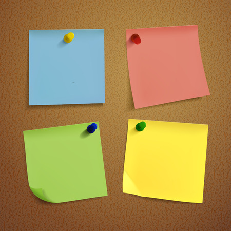 blank note: blank note paper set on brown background Illustration