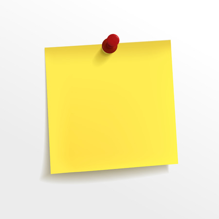 blank note: blank yellow note paper with pin on white background