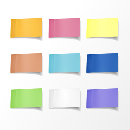blank colorful sticky notes set over white background Ilustração