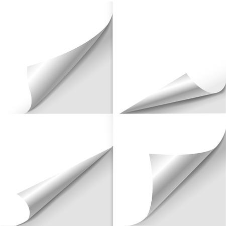 blanco vel papier met pagina krullen set over wit