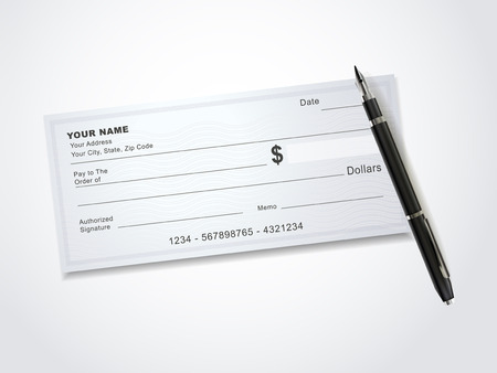blank bank check template and pen isolated on white Illustration