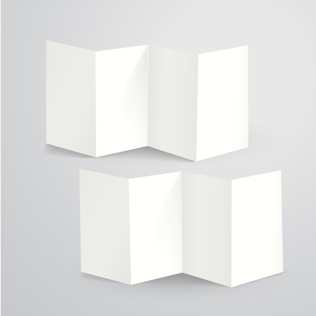 z fold: blank folded paper flyer isolated on white
