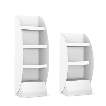display stand: blank displays with shelves isolated on white Illustration