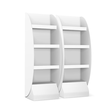 single shelf: blank displays with shelves isolated on white Illustration
