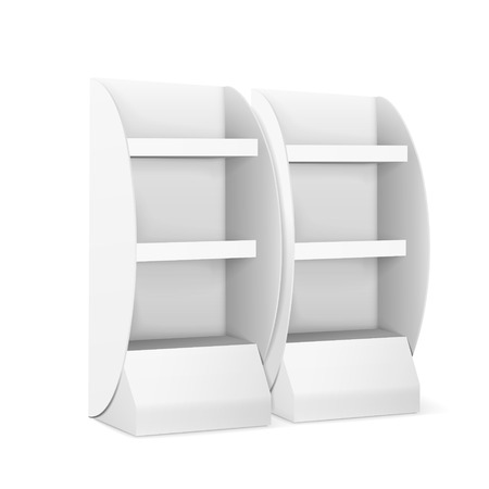 demonstrate: blank displays with shelves isolated on white Illustration