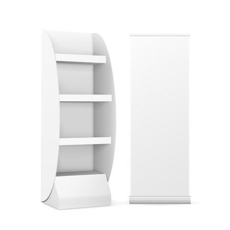 furnish: blank display with shelves and roll up banner isolated on white Illustration
