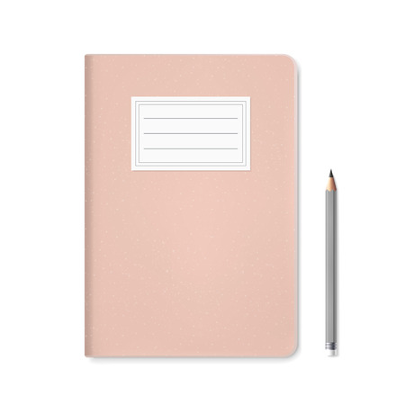 open diary: blank notebook template and pen isolated on white Illustration