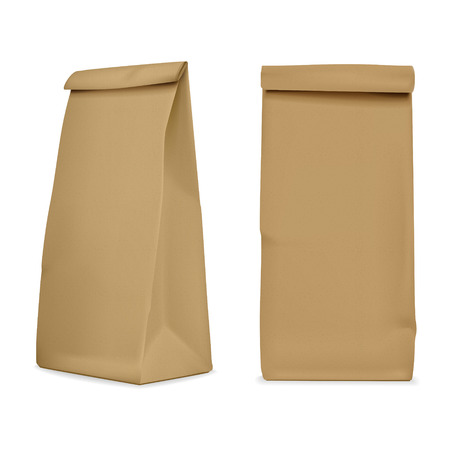 chipboard: blank paper bag set isolated on white