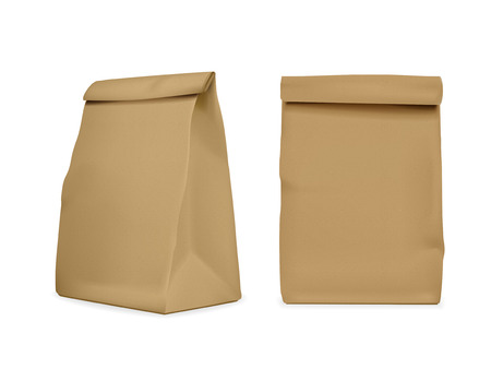 blank paper bag set isolated on white