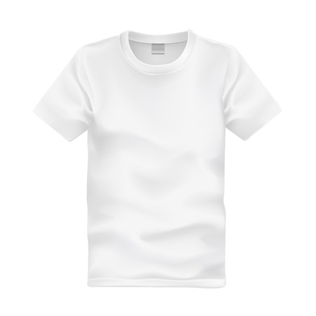 cloth back: white T-shirt template isolated on white background Illustration