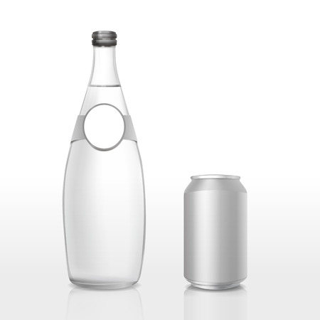 vitreous: glass bottle and can with blank label isolated on white background Illustration