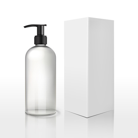 body care: blank cosmetics package over white background