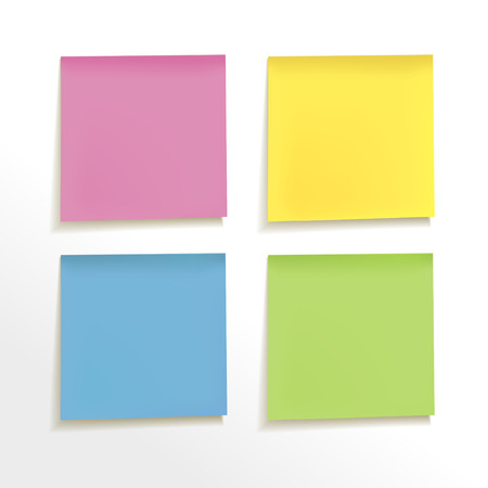 bulletin board: blank note paper set on white background Illustration