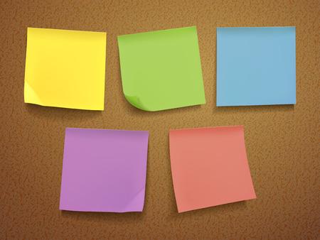 attach: Papel de nota en blanco situado en el fondo de color marrón Vectores