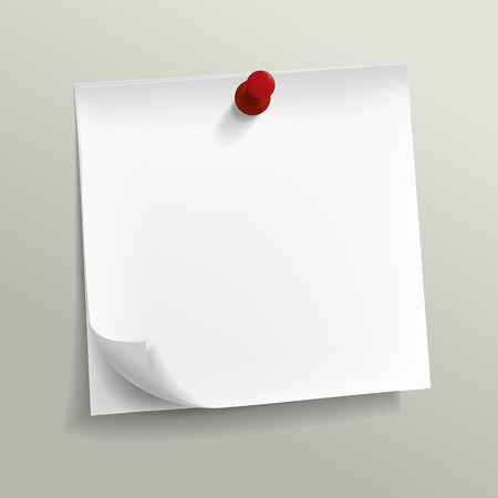 blank note: blank note paper with pin on grey background