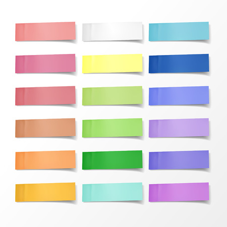 blank colorful sticky notes set over white background Ilustracja