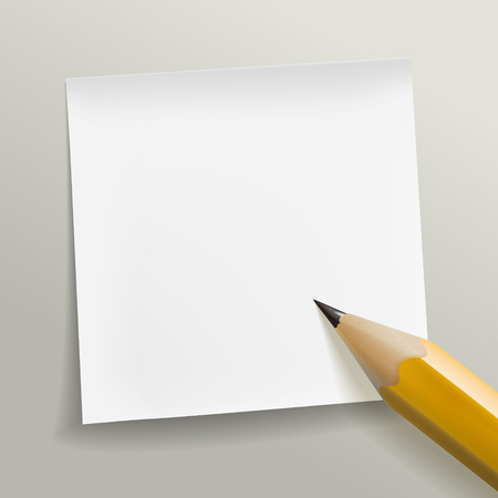 blank note: blank note paper with pen on grey background Illustration