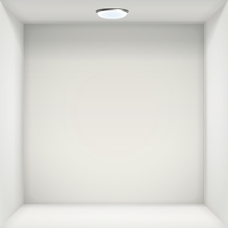 show case: white wall with empty niche for exhibition