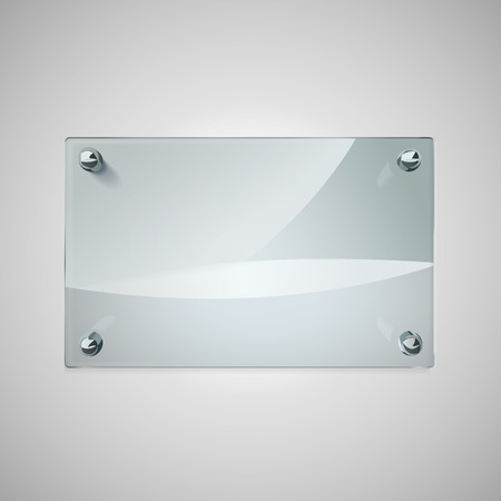 blank glass framework with metal rivets on wall Vector