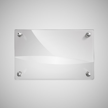 blank glass framework with metal rivets on wall Illustration