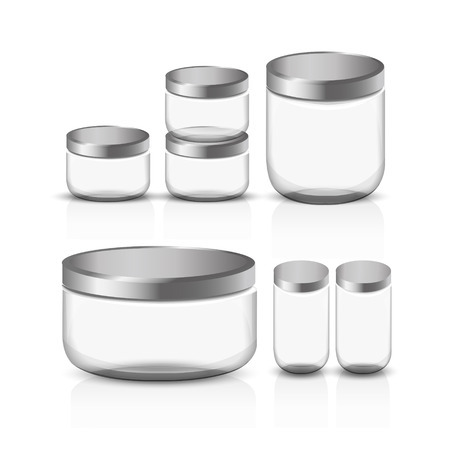 canned food: empty glass jar set isolated on white background