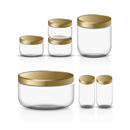 small businesses: empty glass jar set isolated on white background