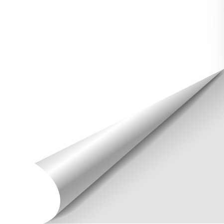 blank sheet of paper with page curl over white Illustration